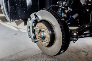 Front disc brake on car
